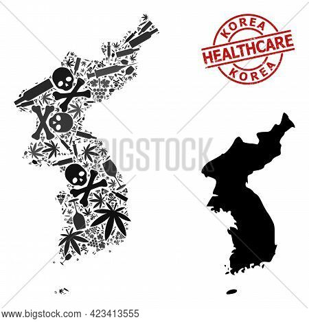 Vector Narcotic Mosaic Map Of Korea. Grunge Healthcare Round Red Imprint. Template For Narcotic Addi