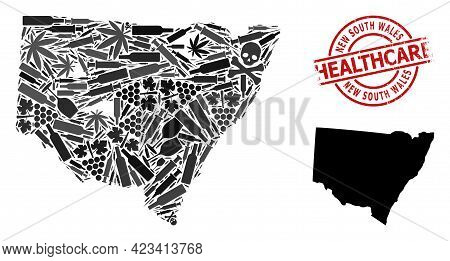 Vector Addiction Mosaic Map Of New South Wales. Grunge Health Care Round Red Badge. Concept For Narc