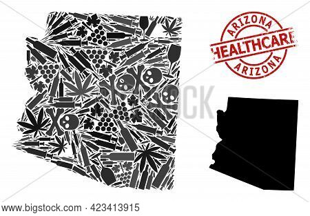Vector Narcotic Composition Map Of Arizona State. Rubber Health Care Round Red Badge. Concept For Na