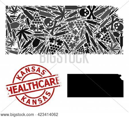 Vector Narcotic Mosaic Map Of Kansas State. Grunge Health Care Round Red Watermark. Template For Nar