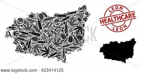 Vector Narcotic Collage Map Of Leon Province. Rubber Health Care Round Red Rubber Imitation. Concept