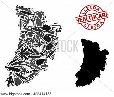Vector Narcotic Collage Map Of Lleida Province. Scratched Health Care Round Red Watermark. Concept F