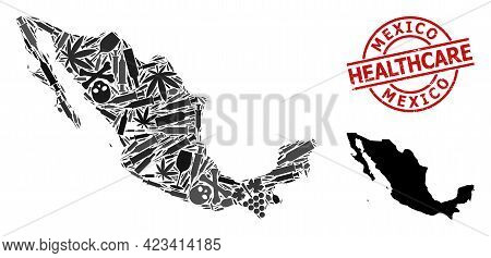 Vector Drugs Collage Map Of Mexico. Scratched Health Care Round Red Watermark. Concept For Narcotic