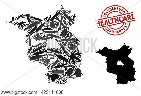 Vector Addiction Mosaic Map Of Brandenburg State. Rubber Healthcare Round Red Rubber Imitation. Temp