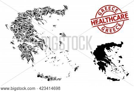 Vector Narcotic Mosaic Map Of Greece. Rubber Health Care Round Red Seal Stamp. Template For Narcotic