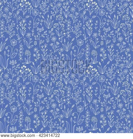 Floral Doodle Seamless Pattern. Vector Illustration Of Hand Drawn Wildflowers And Herbs On A Blue Ba