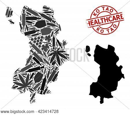 Vector Narcotic Collage Map Of Ko Tao. Grunge Healthcare Round Red Seal. Template For Narcotic Addic