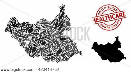 Vector Addiction Composition Map Of South Sudan. Grunge Healthcare Round Red Watermark. Template For
