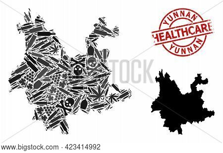Vector Narcotic Mosaic Map Of Yunnan Province. Rubber Health Care Round Red Rubber Imitation. Concep