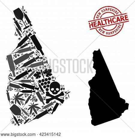 Vector Addiction Composition Map Of New Hampshire State. Scratched Health Care Round Red Imprint. Co