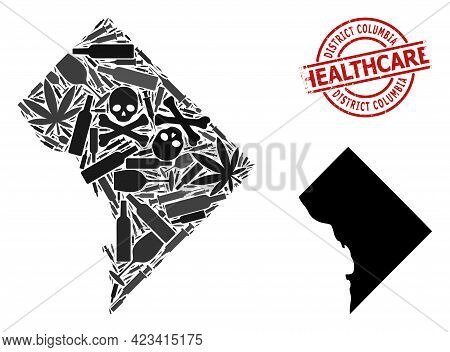 Vector Addiction Composition Map Of District Columbia. Scratched Health Care Round Red Imprint. Temp