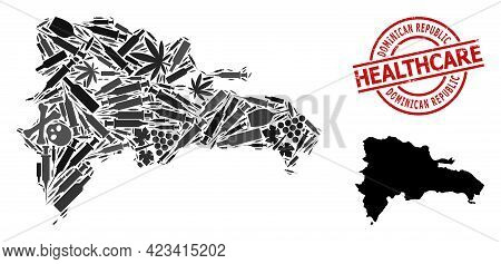 Vector Drugs Composition Map Of Dominican Republic. Grunge Health Care Round Red Stamp. Template For