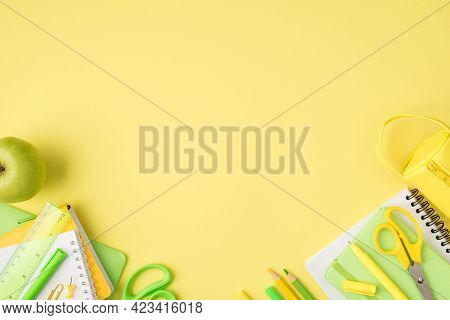 Above Photo Of Pencil-case Notebook Pen Pencil Felt-tip Scissors Ruler Paperclips And Apple Isolated