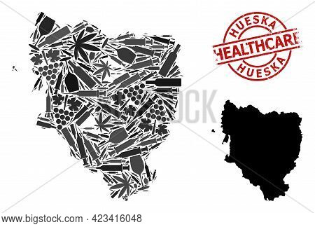 Vector Drugs Mosaic Map Of Hueska Province. Rubber Health Care Round Red Rubber Imitation. Template