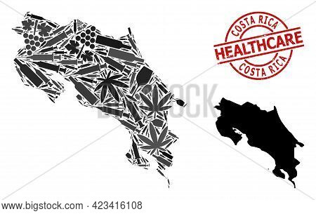 Vector Addiction Mosaic Map Of Costa Rica. Rubber Healthcare Round Red Stamp. Template For Narcotic
