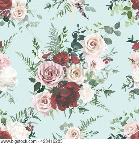 Dusty Pink And Red Rose, Burgundy Peony, Orchid, Hydrangea Flowers, Sage Eucalyptus, Fern, Greenery
