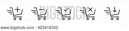 Shopping Cart Black Flat Icons Set. Online Shopping. Add To Cart Buttons. Shopping Cart Signs Collec