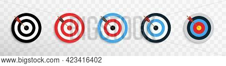 Archery Targets With Arrow Realistic Illustration On Transparent Background. Set Of Targets With Arr