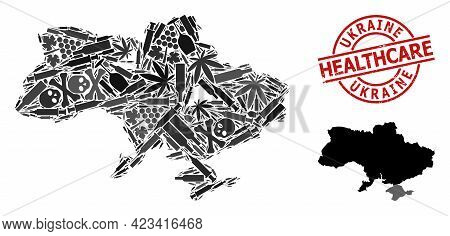 Vector Addiction Collage Map Of Ukraine. Rubber Health Care Round Red Imprint. Template For Narcotic