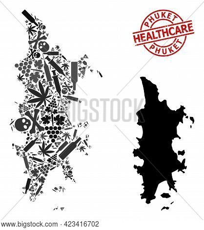 Vector Narcotic Composition Map Of Phuket. Rubber Health Care Round Red Rubber Imitation. Concept Fo