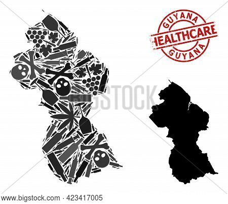Vector Narcotic Collage Map Of Guyana. Rubber Health Care Round Red Rubber Imitation. Concept For Na