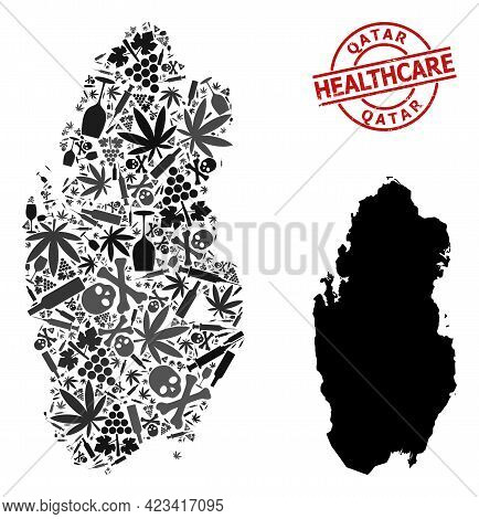 Vector Narcotic Mosaic Map Of Qatar. Scratched Healthcare Round Red Rubber Imitation. Template For N