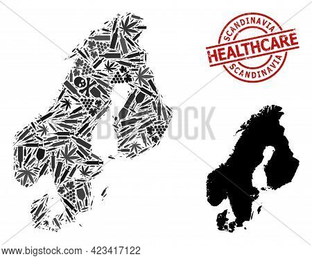 Vector Addiction Composition Map Of Scandinavia. Grunge Healthcare Round Red Badge. Template For Nar