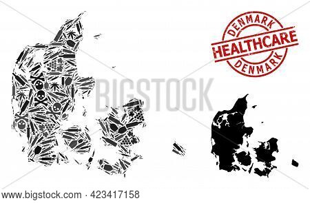 Vector Narcotic Composition Map Of Denmark. Grunge Healthcare Round Red Seal Stamp. Template For Nar