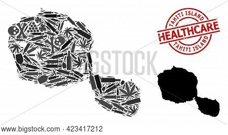 Vector Narcotic Composition Map Of Tahiti Island. Scratched Health Care Round Red Imprint. Concept F