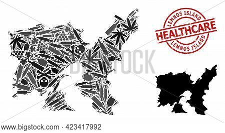 Vector Narcotic Collage Map Of Lemnos Island. Grunge Health Care Round Red Watermark. Concept For Na
