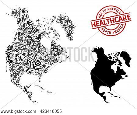 Vector Narcotic Mosaic Map Of North America. Grunge Healthcare Round Red Watermark. Concept For Narc