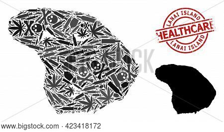 Vector Narcotic Collage Map Of Lanai Island. Rubber Health Care Round Red Rubber Imitation. Concept