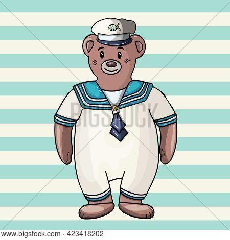 Bear Sailor. Striped Background. Hand Drawn Vector Illustration