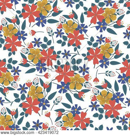 Ornate Trendy Artistic Flower Bouquet Seamless Pattern Design For Textile And Printing. Modern Ditsy