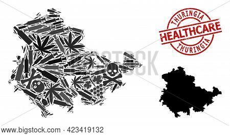 Vector Narcotic Collage Map Of Thuringia State. Rubber Health Care Round Red Seal Stamp. Concept For