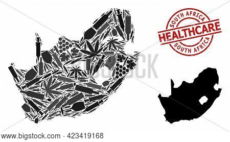 Vector Narcotic Mosaic Map Of South African Republic. Rubber Health Care Round Red Rubber Imitation.