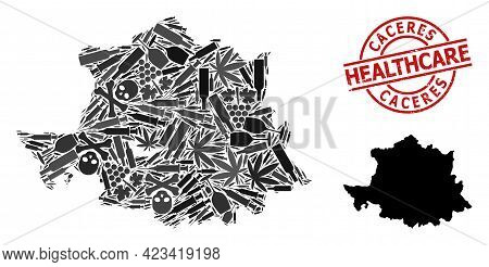 Vector Narcotic Collage Map Of Caceres Province. Scratched Healthcare Round Red Imprint. Template Fo
