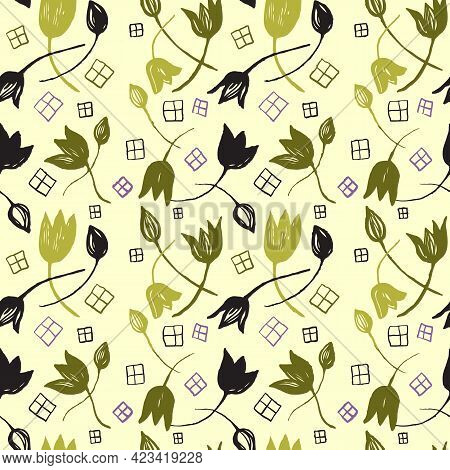 Vector Colorful Tulips On The Texture Background. Stylized Line Art Drawn Flowers Backdrop. Seamless