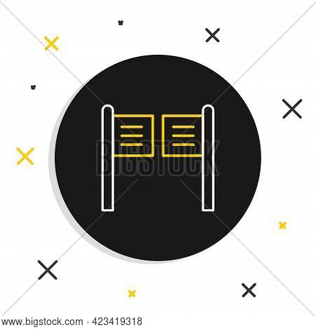 Line Old Western Swinging Saloon Door Icon Isolated On White Background. Colorful Outline Concept. V