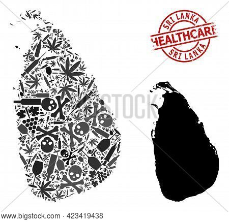 Vector Narcotic Composition Map Of Sri Lanka. Rubber Health Care Round Red Badge. Concept For Narcot