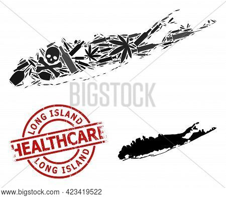 Vector Narcotic Collage Map Of Long Island. Grunge Health Care Round Red Rubber Imitation. Template