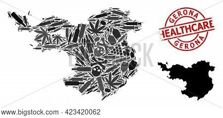Vector Narcotic Mosaic Map Of Gerona Province. Grunge Healthcare Round Red Badge. Concept For Narcot