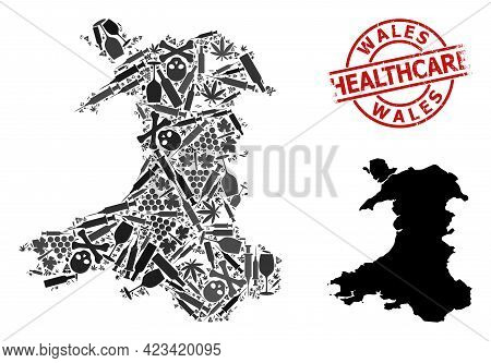 Vector Narcotic Collage Map Of Wales. Scratched Healthcare Round Red Rubber Imitation. Concept For N