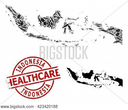 Vector Addiction Collage Map Of Indonesia. Rubber Health Care Round Red Badge. Concept For Narcotic