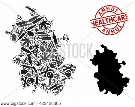 Vector Narcotic Mosaic Map Of Anhui Province. Rubber Health Care Round Red Seal. Template For Narcot
