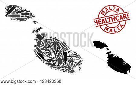 Vector Addiction Mosaic Map Of Malta. Grunge Healthcare Round Red Badge. Template For Narcotic Addic
