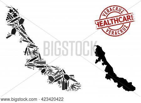 Vector Narcotic Collage Map Of Veracruz State. Grunge Health Care Round Red Rubber Imitation. Templa