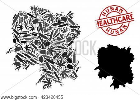 Vector Addiction Collage Map Of Hunan Province. Grunge Health Care Round Red Imprint. Concept For Na