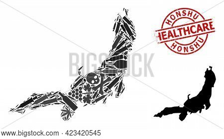 Vector Narcotic Composition Map Of Honshu Island. Scratched Health Care Round Red Seal. Template For
