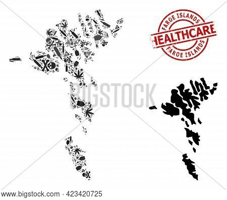 Vector Narcotic Composition Map Of Faroe Islands. Scratched Health Care Round Red Imprint. Concept F